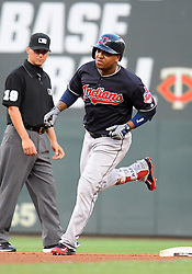 May 31, 2018 - Minneapolis, MN, U.S. - MINNEAPOLIS, MN - MAY 31: Cleveland Indians Shortstop Francisco Lindor (12) rounds the bases after hitting a solo home run in the top of the 4th during a MLB game between the Minnesota Twins and Cleveland Indians on May 31, 2018 at Target Field in Minneapolis, MN. The Indians defeated the Twins 9-8.(Photo by Nick Wosika/Icon Sportswire) (Credit Image: © Nick Wosika/Icon SMI via ZUMA Press)