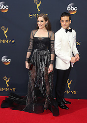 Carly Chaikin, Rami Malek arriving for The 68th Emmy Awards at the Microsoft Theater, LA Live, Los Angeles, 18th September 2016.