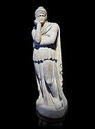 Roman statue of Arris, 3rd century AD from Hierapolis. Hierapolis Archaeology Museum, Turkey . Against an black background .<br /> <br /> If you prefer to buy from our ALAMY STOCK LIBRARY page at https://www.alamy.com/portfolio/paul-williams-funkystock/greco-roman-sculptures.html- Type - Hierapolis - into LOWER SEARCH WITHIN GALLERY box - Refine search by adding a subject, place, background colour, museum etc.<br /> <br /> Visit our CLASSICAL WORLD HISTORIC SITES PHOTO COLLECTIONS for more photos to download or buy as wall art prints https://funkystock.photoshelter.com/gallery-collection/The-Romans-Art-Artefacts-Antiquities-Historic-Sites-Pictures-Images/C0000r2uLJJo9_s0c