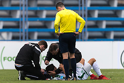 Ludovit Reis of FC Groningen had a head injury during the friendly match between FC Groningen and Club Brugge at Estadio Municipal on January 10, 2018 in  Marbella, Spain