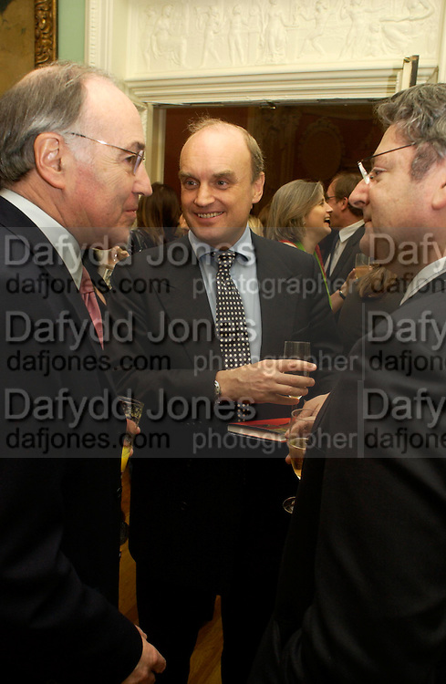 Michael Howard, Nicholas Coleridge and Dominic Lawson. andrew Roberts and Leonie Frieda celebrate the publication of Andrew's 'Waterloo: Napoleon's Last Gamble' and the paperback of Leonie's 'Catherine de Medic'i. English-Speaking Union, Dartmouth House. London. 8 February 2005. ONE TIME USE ONLY - DO NOT ARCHIVE  © Copyright Photograph by Dafydd Jones 66 Stockwell Park Rd. London SW9 0DA Tel 020 7733 0108 www.dafjones.com
