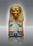 Ancient Egyptian mummy mask of Pasyg. 1st century BC. Neues Museum Berlin VAGM 1989/111. .<br /> <br /> If you prefer to buy from our ALAMY PHOTO LIBRARY  Collection visit : https://www.alamy.com/portfolio/paul-williams-funkystock/ancient-egyptian-art-artefacts.html  . Type -   Neues    - into the LOWER SEARCH WITHIN GALLERY box. Refine search by adding background colour, subject etc<br /> <br /> Visit our ANCIENT WORLD PHOTO COLLECTIONS for more photos to download or buy as wall art prints https://funkystock.photoshelter.com/gallery-collection/Ancient-World-Art-Antiquities-Historic-Sites-Pictures-Images-of/C00006u26yqSkDOM