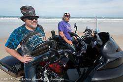 "Krazy J Kieffer and Steve ""Slammer"" Egersdorf at Daytona Beach during Daytona Bike Week 75th Anniversary event. FL, USA. Thursday March 3, 2016.  Photography ©2016 Michael Lichter."