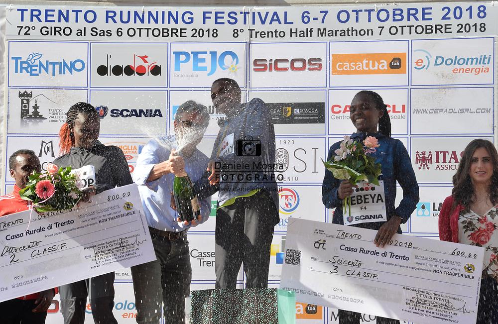 Trento Running Festival - October the 7th, 2018 -  Trento, Italy. Trento Half Marathon  - Ladies victory for Joyce Chepkemoi on the picture and men's Abraham Akopesha, both from Kenya.<br /> © DANIELEMOSNA.IT