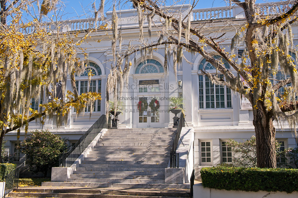 The Charleston Library Society decorated with a Christmas wreath in the historic district on King Street in Charleston, SC.