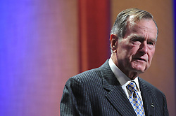 Former US President George HW Bush speaks during the opening session of the Clinton Global Initiative (CGI) held at Sheraton New York Hotel and Towers in New York City, NY, USA on September 24, 2008. Former US President Bill Clinton is hosting the CGI's fourth annual meeting, a gathering of politicians celebrities, philanthropists and business leaders grouped together to discuss pressing global issues. Photo by Davis Miller/ABACAPRESS.COM
