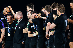 Fly-Half Daniel Carter is hugged by Inside Centre Ma'a Nonu on stage after New Zealand win the match 34-17 to become 2015 World Cup Champions - Mandatory byline: Rogan Thomson/JMP - 07966 386802 - 31/10/2015 - RUGBY UNION - Twickenham Stadium - London, England - New Zealand v Australia - Rugby World Cup 2015 FINAL.