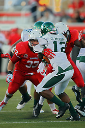 06 Sep 2014: Jerrell Moore is tied up by Redbird defender  during a non-conference NCAA football game between the Delta Devils of Mississippi Valley State and the Redbirds of Illinois State at Hancock Stadium in Normal Il