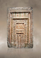 Ancient Egyptian False Door stele of Chamberlain Hornakht, son of Mera, slimestone, Middle Kingdom, 12th Dynasty (1939-1759 BC),  Egyptian Museum, Turin. Old fund cat 1612. <br /> <br /> A false door is an artistic representation of a door which does not function like a real door. They can be carved in a wall or painted on it. They are a common architectural element in the tombs of ancient Egypt, .<br /> <br /> If you prefer to buy from our ALAMY PHOTO LIBRARY  Collection visit : https://www.alamy.com/portfolio/paul-williams-funkystock/ancient-egyptian-art-artefacts.html  . Type -   Turin   - into the LOWER SEARCH WITHIN GALLERY box. Refine search by adding background colour, subject etc<br /> <br /> Visit our ANCIENT WORLD PHOTO COLLECTIONS for more photos to download or buy as wall art prints https://funkystock.photoshelter.com/gallery-collection/Ancient-World-Art-Antiquities-Historic-Sites-Pictures-Images-of/C00006u26yqSkDOM