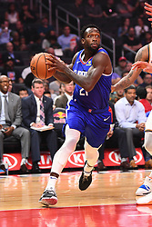 October 19, 2018 - Los Angeles, CA, U.S. - LOS ANGELES, CA - OCTOBER 19: Los Angeles Clippers Guard Patrick Beverley (21) drives to the basket during a NBA game between the Oklahoma City Thunder and the Los Angeles Clippers on October 19, 2018 at STAPLES Center in Los Angeles, CA. (Credit Image: © Brian Rothmuller/Icon SMI via ZUMA Press)