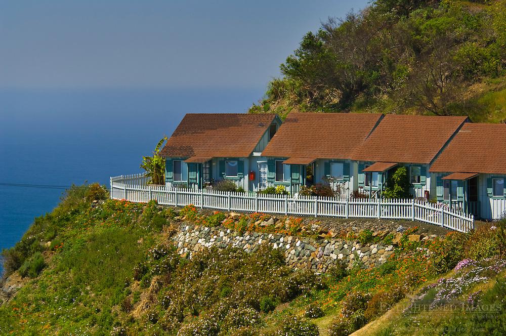 Quaint little guest cabins overlooking the ocean at the Lucia Lodge, Big Sur Coast, Monterey County, California Quaint little guest cabins overlooking the ocean at the Lucia Lodge, Big Sur Coast, Monterey County, California