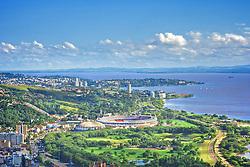 Vista aérea de Porto Alegre com o estádio Beira Rio ao centro e a zona sul ao fundo. FOTO: Jefferson Bernardes Preview.com