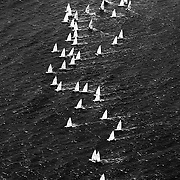 """Sailboats take off from the starting line at the 2007 Laser Sailboat Nationals, held at Wrightsville Beach NC. The ocean is not only used for sustenance worldwide, but also recreational activities. ltqmb """"Air Sail"""""""