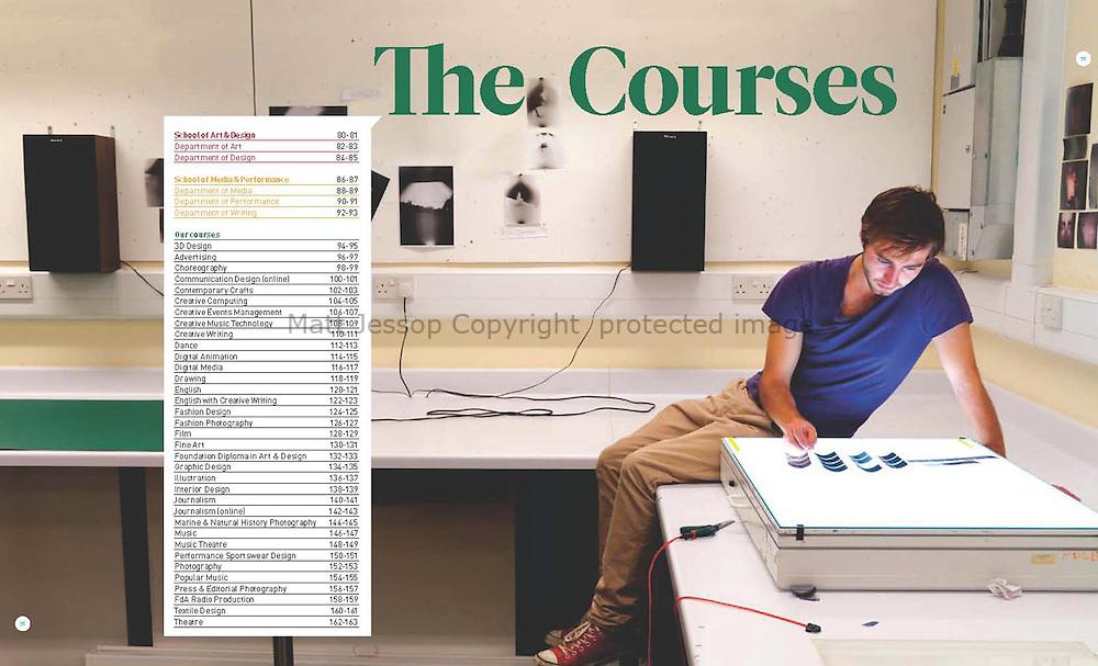 CLIENT: UNIVERSITY COLLEGE FALMOUTH //     <br /> PROJECT: ANNUAL PROSPECTUS 2013 //   <br /> CONCEPT, DESIGN and ART DIRECTION: NIXON DESIGN   www.nixondesign.com //<br /> PHOTOGRAPHY ASSISTANT: Vaughan Pickhaver