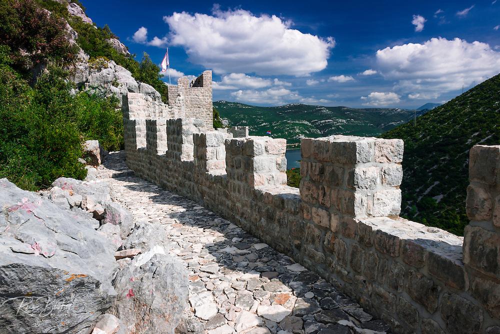 The Great Wall and fortress, Ston, Dalmatian Coast, Croatia