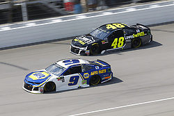 August 12, 2018 - Brooklyn, Michigan, United States of America - Chase Elliott (9) and Jimmie Johnson (48) battle for position during the Consumers Energy 400 at Michigan International Speedway in Brooklyn, Michigan. (Credit Image: © Chris Owens Asp Inc/ASP via ZUMA Wire)