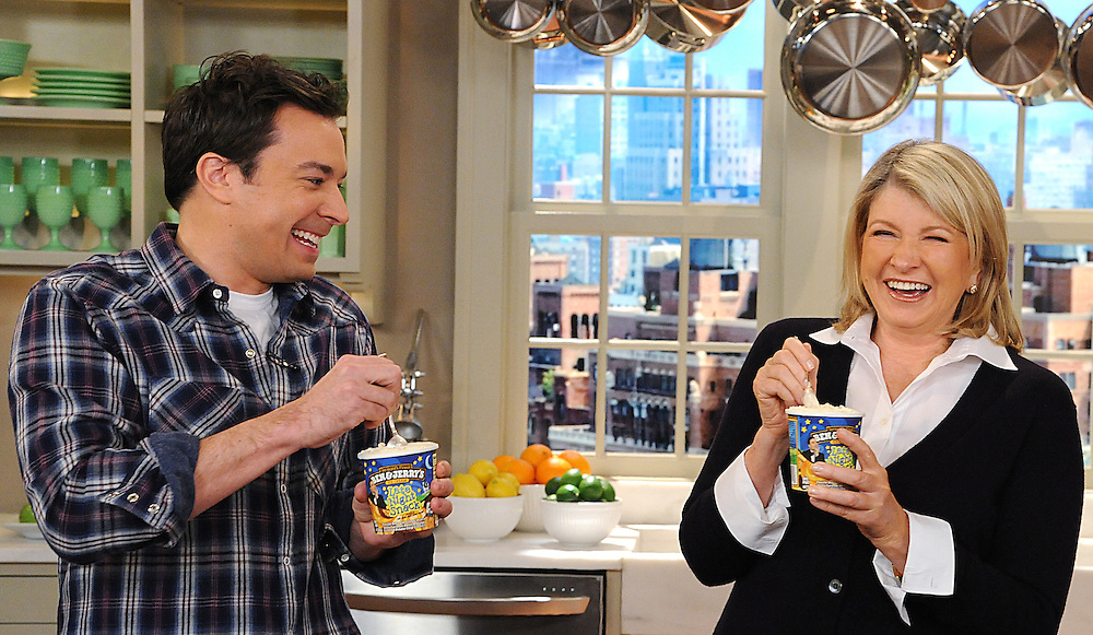 """Jimmy Fallon and Martha Stewart are seen in this photo from the production of """"The Martha Stewart Show"""" in New York on Monday, March 28, 2011. Photo: David E. Steele/The Martha Stewart Show"""