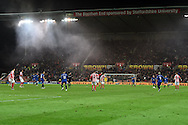 a general view of the Barclays Premier League match, Stoke city v Everton at the Britannia Stadium in Stoke on Trent , Staffs on Wed 4th March 2015.<br /> pic by Andrew Orchard, Andrew Orchard sports photography.