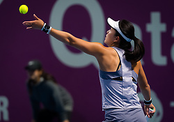 February 10, 2019 - Doha, QATAR - Lin Zhu of China in action during qualifications at the 2019 Qatar Total Open WTA Premier tennis tournament (Credit Image: © AFP7 via ZUMA Wire)