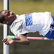 High school athletes in action during the High Jump competition at the 2013 NYC Mayor's Cup Outdoor Track and Field Championships at Icahn Stadium, Randall's Island, New York USA.13th April 2013 Photo Tim Clayton