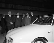 Citroen Launch New Car Range..1973..28.03.1973..03.28.1973..28th March 1973..At a press reception in Leopardstown,Dublin, Citroen launched the 1973 range of new cars which will be available soon..Included in this photograph at the launch of the new Citroen range were An Taoiseach, Liam Cosgrave and the French Ambassador Mr Emmanuel D'Harcourt.