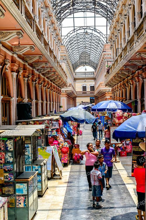 Pasaje de la Casa De Correos Arcade in Lima with lots of shops behind the old main post office.