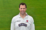 Head shot.  Marcus Trescothick wearing the Somerset Specsavers County Championship kit at the media day at Somerset County Cricket Club at the Cooper Associates County Ground, Taunton, United Kingdom on 11 April 2018. Picture by Graham Hunt.