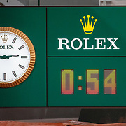 PARIS, FRANCE October 02. The court clock shows the match time for Simona Halep of Romania's 6-0 6-1 victory against Amanda Anisimova of the United States in the third round of the singles competition on Court Philippe-Chatrier during the French Open Tennis Tournament at Roland Garros on October 2nd 2020 in Paris, France. (Photo by Tim Clayton/Corbis via Getty Images)