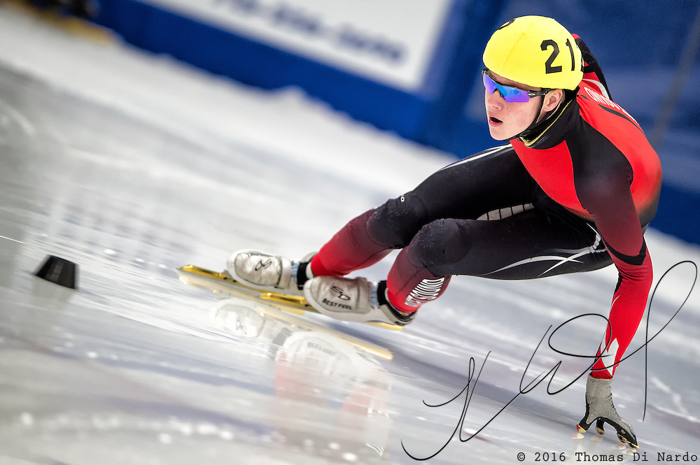 March 19, 2016 - Verona, WI - Cooper McLeod, skater number 212 competes in US Speedskating Short Track Age Group Nationals and AmCup Final held at the Verona Ice Arena.