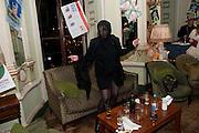 KIM GRAHOME; BOY GEORGE  Philip Sallon's mass paranoia swine flu birthday party. DRESS: DISEASE RELATED OR SWINE, Home House. Portman Sq. London. 13 November 2009.
