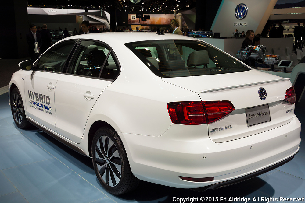 DETROIT, MI, USA - JANUARY 12, 2015: Volkswagen Jetta Hybrid on display during the 2015 Detroit International Auto Show at the COBO Center in downtown Detroit.
