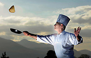 Executive chef at the Killarney Plaza Hotel Robin Kirk gets in some practice at pancake tossing on the hotel roof.<br /> Picture by Don MacMonagle -macmonagle.com