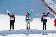 Mathilde Gremaud, Switzerland, SILVER with team mate Sarah Hofflin, GOLD and Isabel Atkin, Great Britain, BRONZE during the Women's Ski Slopestyle flower ceremony at the Pyeongchang Winter Olympics on 17th February 2018 at Phoenix Snow Park in South Korea