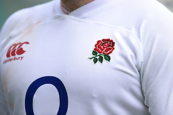 A general view of the Red Rose emblem on the jersey - Mandatory byline: Patrick Khachfe/JMP - 07966 386802 - 24/08/2019 - RUGBY UNION - Twickenham Stadium - London, England - England v Ireland - Quilter International