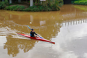 Canoeing in the Yarkon river, Tel Aviv, Israel