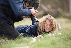 RSPB Assistant Warden Charlotte Bartlett and volunteer Mary Braddock taking part in Field cricket Gryllus campestris translocation project, RSPB Farnham Heath Nature Reserve, Surrey, April