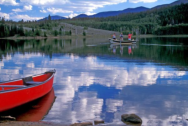 Fishing in a mountain lake