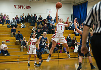 Sophie George goes up for a layup against Merrimack Valley during NHIAA Division III Basketball Wednesday evening.  (Karen Bobotas/for the Laconia Daily Sun)