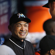 NEW YORK, NEW YORK - APRIL 12: Ichiro Suzuki, Miami Marlins, in the dugout before the Miami Marlins Vs New York Mets MLB regular season ball game at Citi Field on April 12, 2016 in New York City. (Photo by Tim Clayton/Corbis via Getty Images)