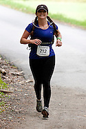 New Paltz, New York - Colleen Yout runs through the Mohonk Preserve during the Shawangunk Ridge Trail Run/Hike 20-mile race on Sept. 20, 2014.