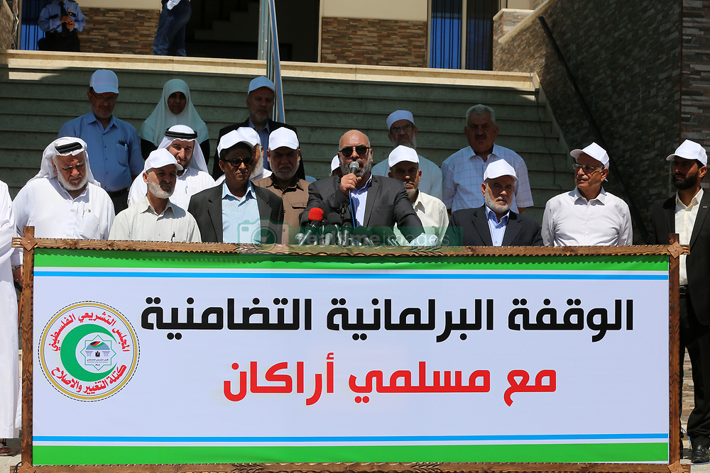 September 7, 2017 - Gaza, Palestine - The Palestinian parliament members stand in solidarity with the Muslims of Arakan ''in the Palestinian Legislative Council in Gaza on September 7, 2017. (Credit Image: © Momen Faiz/NurPhoto via ZUMA Press)