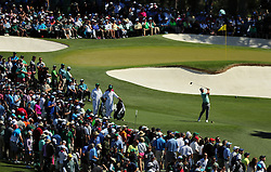 Charley Hoffman hits from the 3rd tee before the gallery around the 3rd and 7th holes during the third round of the Masters Tournament at Augusta National Golf Club in Augusta, Ga., on Saturday, April 8, 2017. (Photo by Curtis Compton/Atlanta Journal-Constitution/TNS) *** Please Use Credit from Credit Field ***