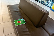Seating becomes unavailable inside a shopping centre at Mitcham. New COVID Lockdown Restrictions announced today by the SA Premier Steven Marshall caused panic shopping at supermarkets as people stocked up with essential groceries.   (Photo by Peter Mundy/Speed Media)
