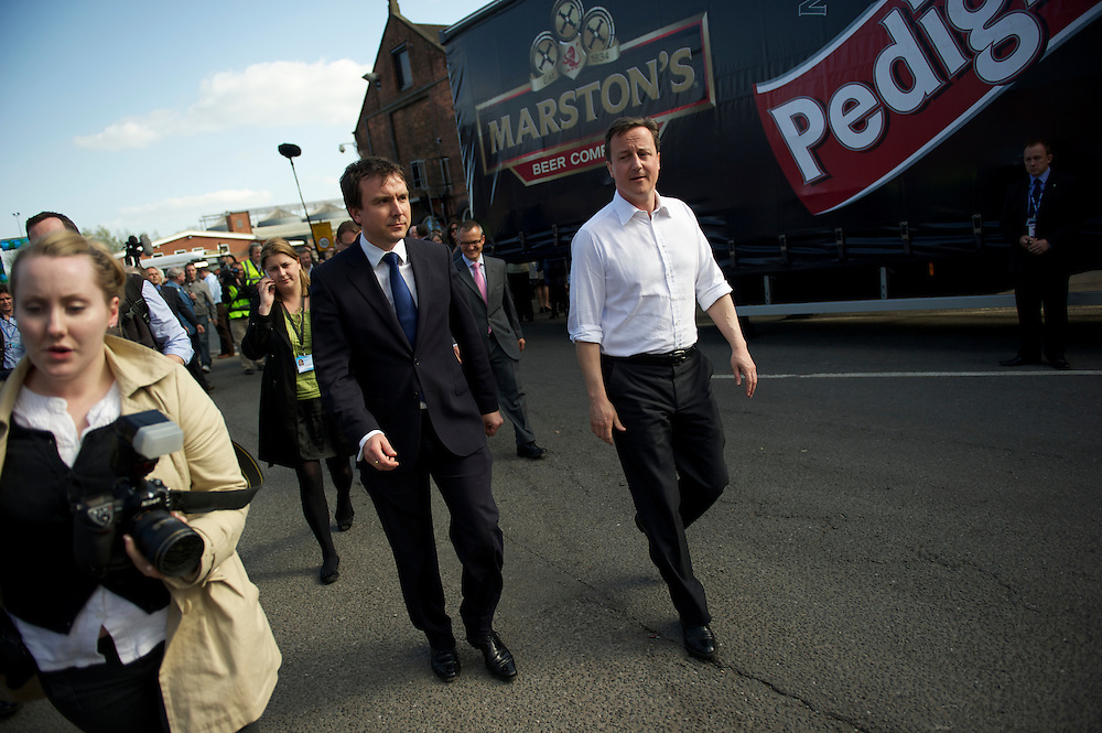 Conservatives leader David Cameron visits Burton-upon-Trent in Staffordshire, West Midlands, UK, speaking to supporters and employees at Marston's Brewery.  With the general election looming on 6 May 2010, predicted to be one of the closest and most fiercely fought elections, candidates are campaigning at a torrid pace, holding many events throughout the UK.
