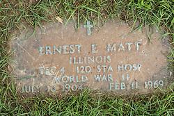 31 August 2017:   Veterans graves in Park Hill Cemetery in eastern McLean County.<br /> <br /> Ernest E Matt  Illinois  Tec4  120 Sta Hosp  World War II  July 10 1904  Feb 11 1969