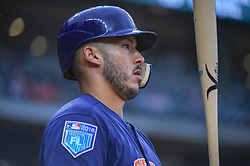March 26, 2018 - Houston, TX, U.S. - HOUSTON, TX - MARCH 26: Houston Astros infielder Carlos Correa (1) watches the jumbotron during the game between the Milwaukee Brewers and Houston Astros at Minute Maid Park on March 26, 2018 in Houston, Texas. (Photo by Ken Murray/Icon Sportswire) (Credit Image: © Ken Murray/Icon SMI via ZUMA Press)