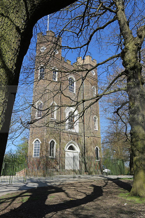 © Licensed to London News Pictures. 18/07/2014. Severndroog Castle exterior- taken during restoration 10/04/2014. An 18th century castle on a hill in south east London is preparing to reopen this weekend following a lengthy, painstaking restoration project. Severndroog Castle in Oxleas Woods on Shooters Hill enjoys stunning views across seven counties on a clear day. The folly has been closed for many years and was in state of disrepair before work started on a restoration project last year. The historic building featured in the BBC series Restoration in 2004. The reopening takes place on Sunday July 20th - more information about the castle and the reopening available fron the Severndroog Castle Building Presevation Trust. http://www.severndroogcastle.org.uk/index.html Credit : Rob Powell/LNP