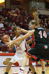06 December 2006: Julie Demuth causes anxiety for Tiffany Hudson. In a non-conference game, the Cardinals of Ball State visited the Redbirds home at Redbird Arena in Normal Illinois on the campus of Illinois State University.<br />