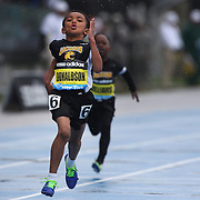 Xavier Donaldson, USA, winning the Boys' Fastest Kid 100m during the Diamond League Adidas Grand Prix at Icahn Stadium, Randall's Island, Manhattan, New York, USA. 25th May 2013. Photo Tim Clayton
