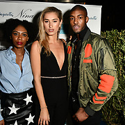 Tonique Campbell, Lilly Douse, and Stefan-Pierre Tomlin Arrivers at Nina Naustdal catwalk show SS19/20 collection by The London School of Beauty & Make-up at Bagatelle on 26 Feb 2019, London, UK.